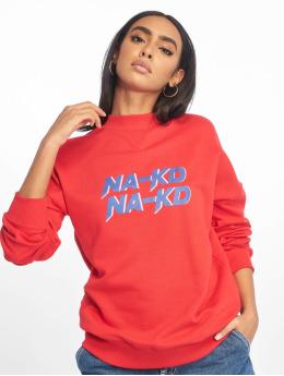 NA-KD Svetry High Collar červený