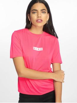 NA-KD T-Shirt Neon Logo pink