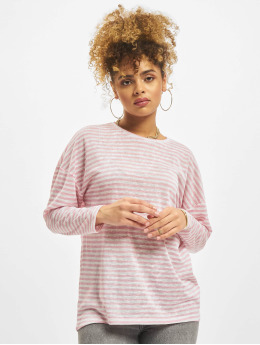 NA-KD Tričká dlhý rukáv Long Stripe pink