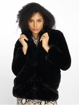 NA-KD Frauen Winterjacke Fluffy Fur in schwarz