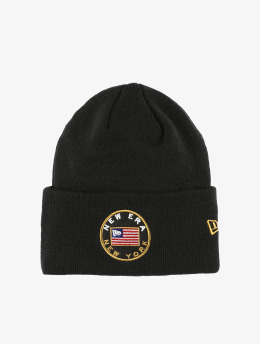 New Era Bonnet Flagged Cuff Knit noir