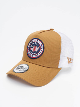 New Era Casquette Trucker mesh USA Patch beige