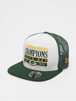 New Era Snapback Cap NFL Champs Pack Trucker Green Bay Packers white