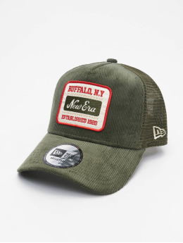 New Era Snapback Caps Fabric Patch Trucker olivový
