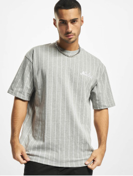 New Era T-shirt Oversized Pinstripe grigio