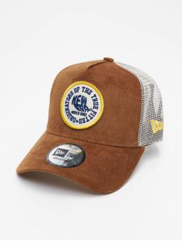 New Era Trucker Cap Fabric Patch brown