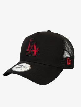 New Era Trucker Caps MLB Los Angeles Dodgers Check Infill 9Forty AF čern