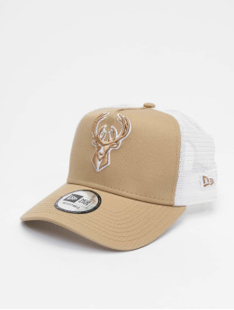 New Era Trucker Caps NBA Milwaukee Bucks Essential 9forty A-Frame bezowy