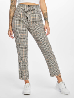 New Look Chino pants Paris Check Button Tie brown