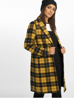 New Look Coats Mustard Check Crombie yellow