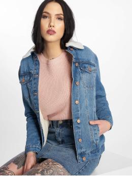 New Look Denim Jacket Cassie Oversized Borg blue