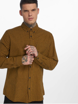 New Look Männer Hemd Longsleeve Entry Mini Check in gelb