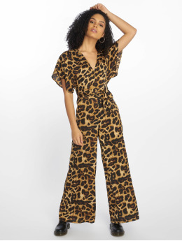 New Look Jumpsuits Go Leopard Satin Kimono hnědý