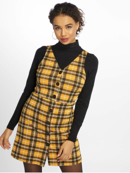New Look Robe Mustard Check BTN Thru Pinny jaune