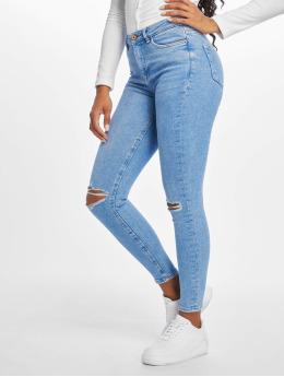 New Look Skinny Jeans Rip Fray Hem Disco Jaffa blau