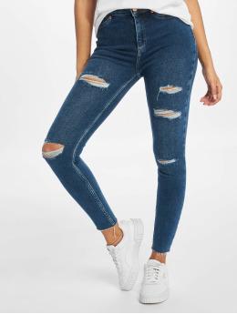New Look Skinny Jeans Ripped Disco Fray Hem Lavender modrý