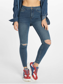New Look Skinny Jeans Molly Disco Rip Cut Off Fray niebieski