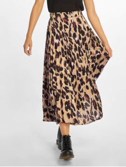 New Look Skirt Satin Animal Pleated brown