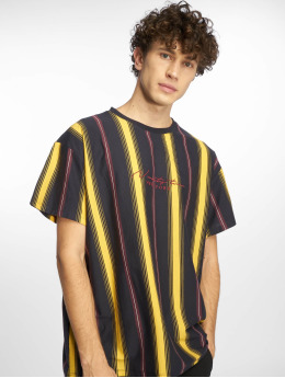 New Look Männer T-Shirt Star Emb Vertical Stripe in gelb