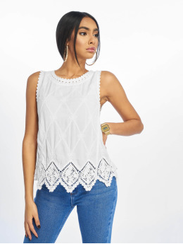 New Look Top F Lexie Latice BK Crochet  blanco