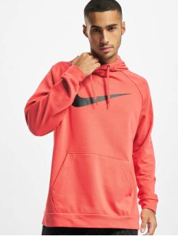 Nike Bluzy z kapturem Dri-Fit Swoosh czerwony