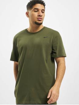 Nike Performance Shirts desportes Dry Crew Solid caqui