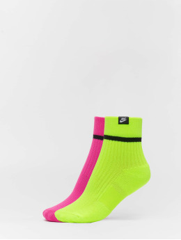 Nike Socks SNKR Sox Ankle 2 Pair HI VIZ colored