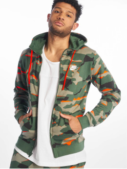 Nike Sweat capuche zippé M Nsw Club Camo Hoodie Fz Ft vert