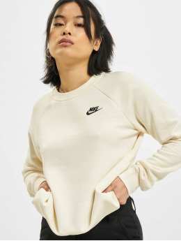Nike Swetry W Nsw Essntl Flc Crew bezowy