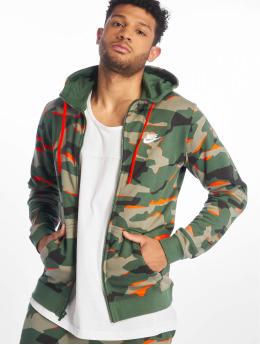 Nike Zip Hoodie M Nsw Club Camo Hoodie Fz Ft zielony