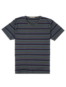 Nudie Jeans T-Shirt Anders Overdyed Stripes grau