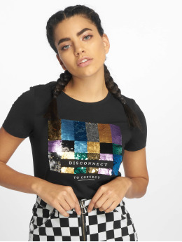 Only Camiseta onlKita Regular Sequin Box Co  negro