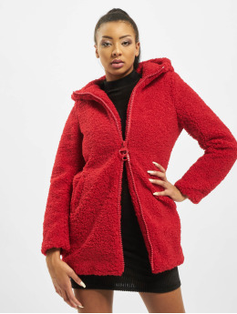 Only Cappotto onlTerry Curly Fur Hood  rosso