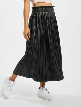 Only Falda onlMie Faux Leather Midi Pleat  negro