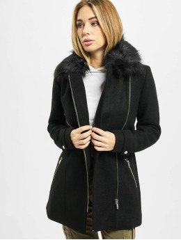 Only Kabáty onlCarol Wool Fur Biker čern