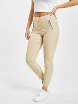 Only Leggings/Treggings onlJamila High Waist Zip Ankle brazowy