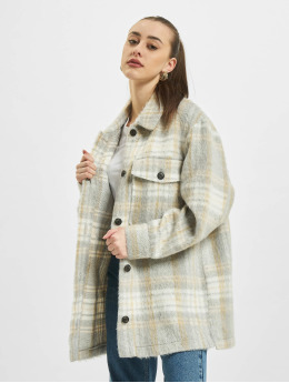 Only Lightweight Jacket onlRosie Check Oversized Shacket beige