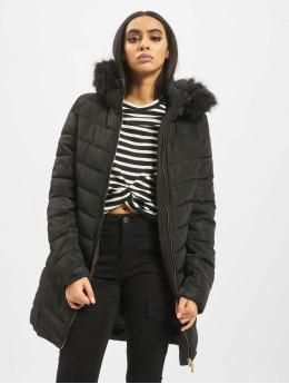 Only Płaszcze onlEllan Quilted Hood Fur  czarny