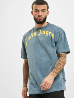 Palm Angels T-Shirt Vintage Wash Curved Logo blau