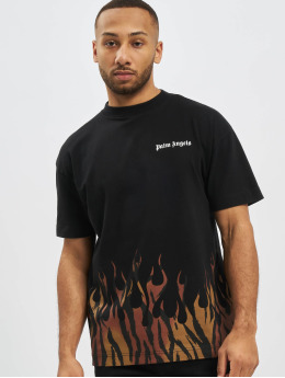Palm Angels Tričká Tiger Flames èierna