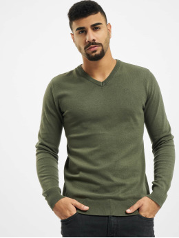 Petrol Industries Pulóvre V-Neck Knit  zelená