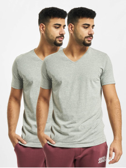 Petrol Industries T-Shirt Basic V-Neck 2-Pack grau