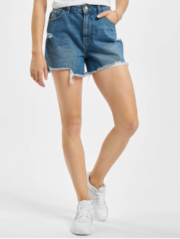 Pieces Shorts pcAva Mid Waist Destroy blå
