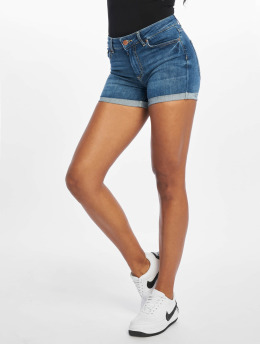 Pieces shorts PcDelly Fold Up Mid Waist blauw