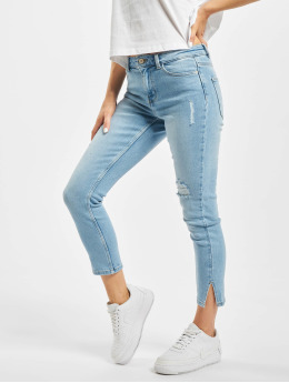 Pieces Skinny Jeans pcKamelia Slit Dest Mid Waist niebieski