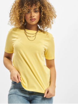 Pieces T-Shirty pcRia Fold Up Solid zólty