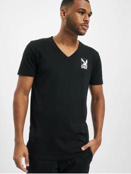 Playboy x DEF T-Shirty V-Neck czarny