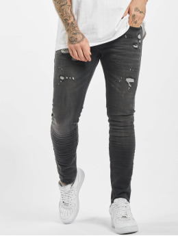Project X Paris Slim Fit Jeans Worn Effecr schwarz