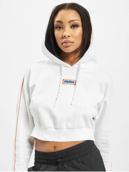 Puma Sweat capuche Colour Block Cropped blanc