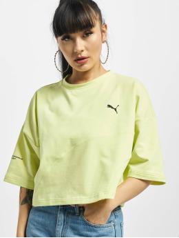 Puma t-shirt Evide Form Stripe Crop geel